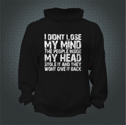 I Didnt Lose My Mind The People Inside My Head Stole It And They Wont Give It Back Hoodie Front